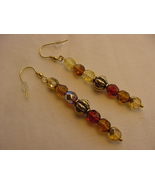 Unique Creations/Ozarks Amber Taupe Beige Beads Gold Plated Drop Earrings - $18.00