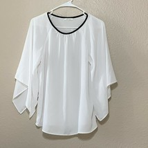 Pleione Anthropologie Woman's Size Xs Blouse Bell sleeve top white - $19.57