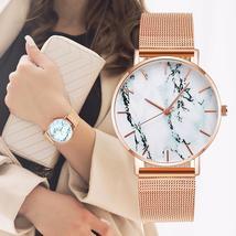 Fashion Rose Gold Mesh Band Creative Marble Female Wrist Watch Luxury Wo... - $33.50