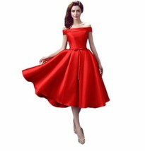 Off Shoulder Red Satin Ball Gown Short prom Dress Mini Homecoming Pary Gowns2019 - $78.44