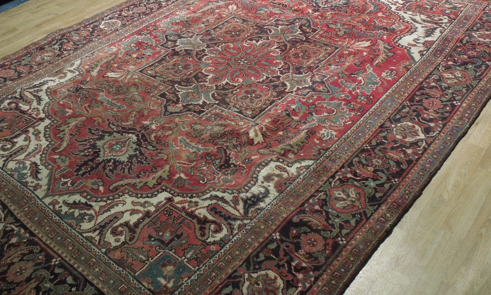 Semi-Antique Durable Red Heriz Persian Wool Hand-Knotted Rug 7' x 11' Rug
