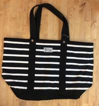 $145 Polo Ralph Lauren Womens Canvas Striped Tote Handbag, Black/White, One Size