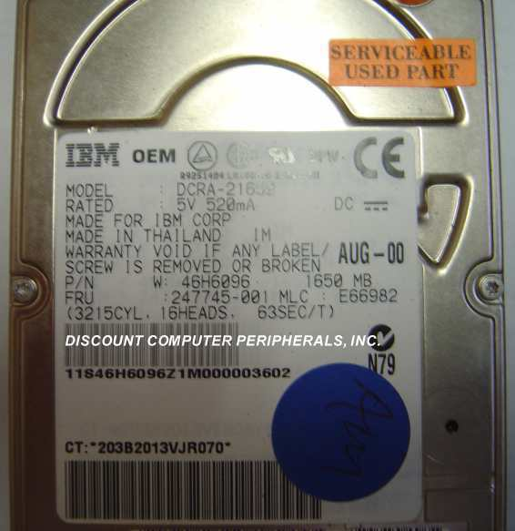 1.6GB 2.5in 17MM IDE Drive IBM DCRA-21650 Tested Free USA Ship Our Drives Work