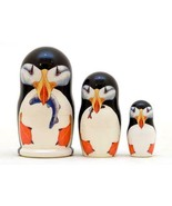 Puffin Bird Family Russian Wooden Nesting Doll Set 3 pc Hand Painted Dec... - $21.73