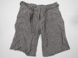 BCBG Shorts Sz 4 Linen Blend Light Grey Gray Stripes With Belt Work Casu... - $14.50