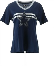 NFL Dallas Women's Bling Short-Sleeve T-Shirt Side Stripes Cowboys M NEW... - $21.76