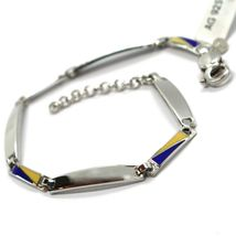 925 STERLING SILVER BRACELET, ALTERNATE OVAL PLATES AND GLAZED NAUTICAL FLAGS  image 3
