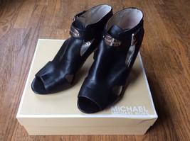 Michael Kors Black Leather Open Toe High Heel Shoes Booties Metal Trim  ... - $23.38