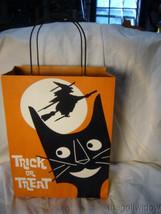 Bethany Lowe Large Tin Halloween Treat Bag Black Cat Witch image 2