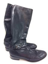 SH3 Via Spiga Sheldon 9.5M Black Leather Tall Riding Boots Back Zipper B... - $34.64