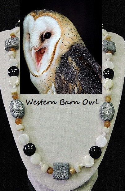 Primary image for Barn Owl artisan handcrafted genuine banded agate, shell, ceramic, & artglass be