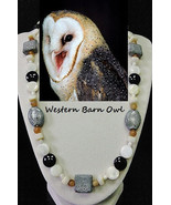 Barn Owl artisan handcrafted genuine banded agate, shell, ceramic, & art... - $100.00