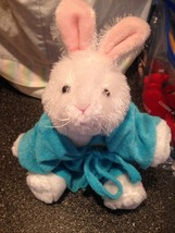 Ganz White Bunny Easter Rabbit Plush Webkinz Stuffed Beanie w Terry Cloth Robe - $15.99