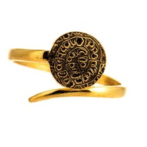 925 Sterling Silver Phaistos Disc Ring Adjustable Gold Plated Ancient Mi... - $33.21