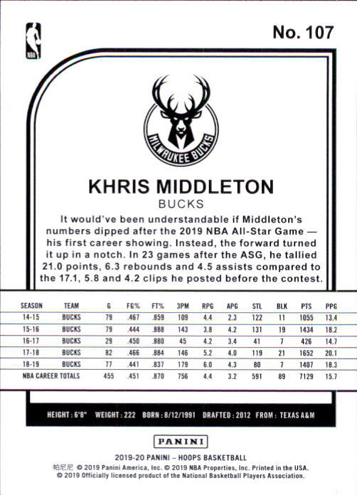 Khris Middleton 2019-20 Panini NBA Hoops Card #107 image 2
