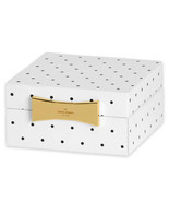 Kate Spade Lenox GARDEN DRIVE SPOT Square Jewelry Box Black Dot New - £24.35 GBP