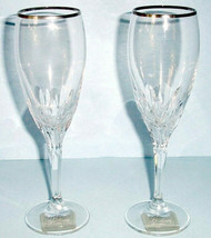 Gorham Lenox Diamond Platinum Champagne Flute SET/2 Cut Crystal New No Box - $48.90