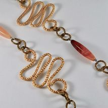 Necklace the Aluminium Gold & Burnished with Agate Orange Long 95 CM image 4