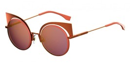 FENDI EYESHINE FF0177S Orange Pink Yellow Metal Sunglasses Round Runway ... - $185.77