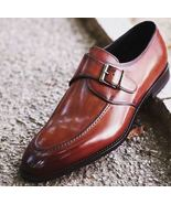 Handmade men Brown dress shoes Mens leather monk shoes Mens formal shoes - $149.99+