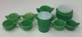 Akro Agate Tea Set Concentric Ring 19 Piece Set Jadeite White 19-1312 - $94.99