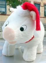 American Made Big Stuffed Pig 27 Inch Soft White Wears Santa Hat Made in... - $97.11