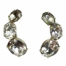 Gray White Crescent Earrings Vintage Rhinestone Silver Tone Clip On e908 - $7.64