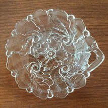 "Indiana Glass Wild Rose Handle Dish 7"" Clear - $10.19"