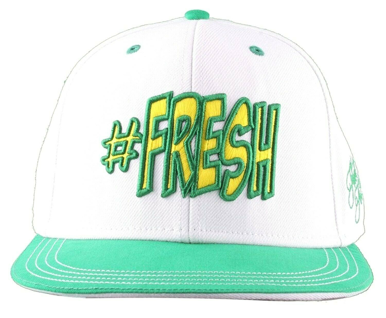 Flat Fitty Hashtag Fresh Wiz Khalifa Green White Snapback Baseball Hat Cap NWT