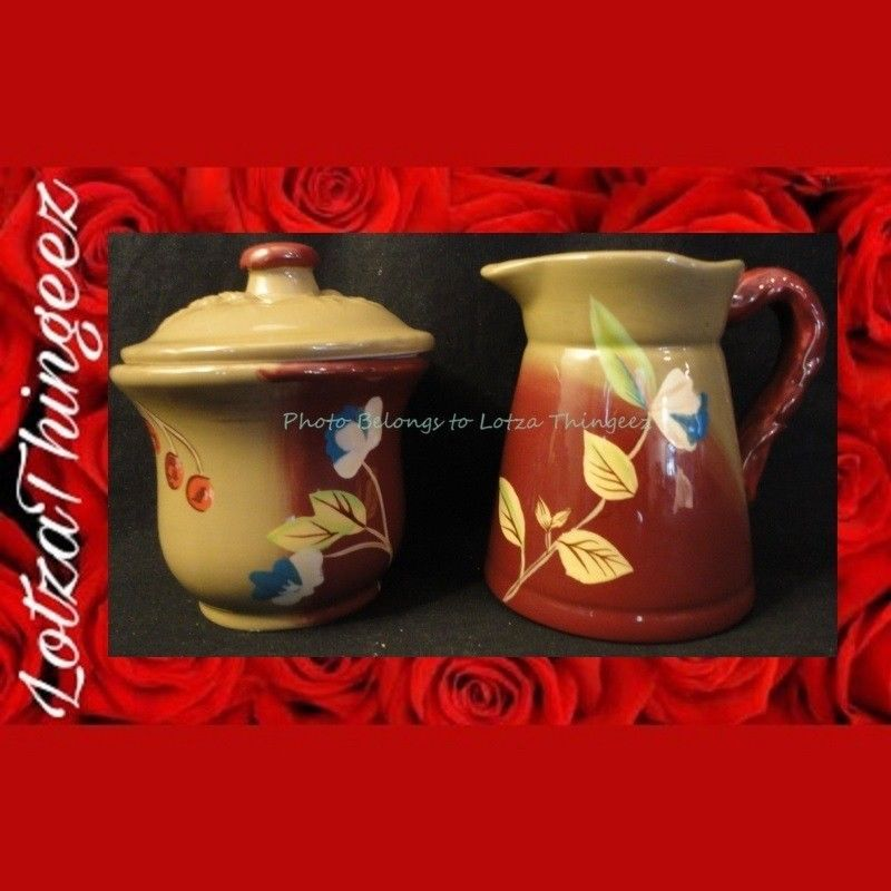 "The Henna Collection ""Tracy"" Sugar Bowl & Lid / New Creamer Burgandy Tan"