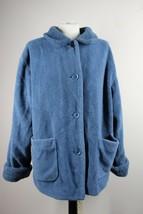 Talbots L Blue Deep Pile Fuzzy Fleece Button Front Jacket Coat - $49.40