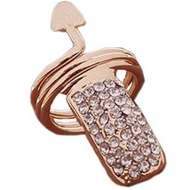 2Pcs Rhinestone Fingernail Ring Nail Cap Cover Nail Art Charm for Women Girls, G