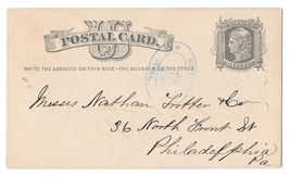 1876 PA Honeybrook Penna Double Blue Oval Cancel on UX5 Postal Card  - $9.95