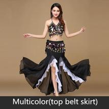 9 Colors Professional Belly Dancer Sequin Beaded Outfits Bra Belt Skirt image 10
