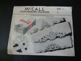 Vintage McCall Kaumagraph Transfer Cut work for Pillow cases & Towels--U... - $20.00