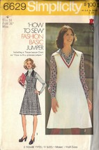 SIMPLICITY 6629 PATTERN DATED 1974 SZ 14 MISSES' PRINCESS SEAMED JUMPER ... - $3.90
