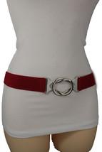 New Women Fashion Belt Hip Waist Red Stretch Waistband Silver Metal Buck... - $12.73
