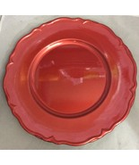 Set of 4 Threshold Scalloped Chargers Polypro Metallic Red Dinner Plates... - $15.00