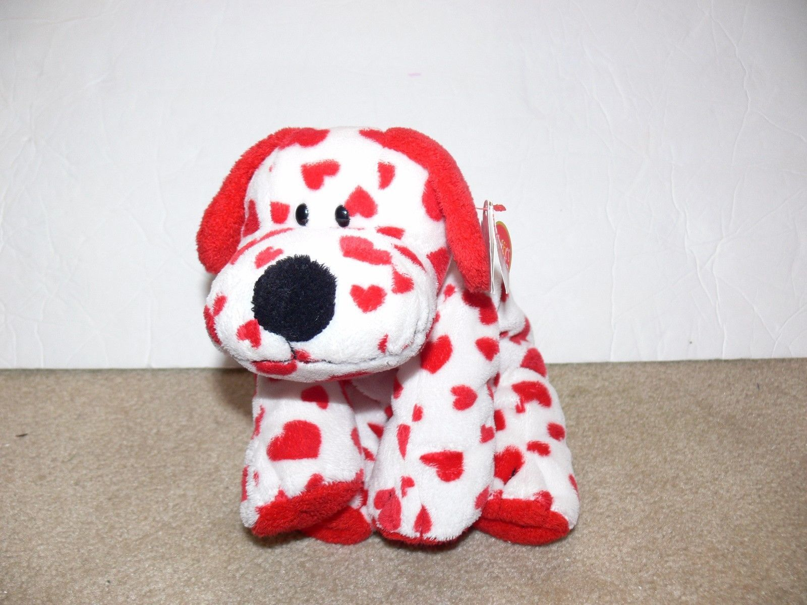 72ce6903ee1 S l1600. S l1600. Previous. 2006 Ty Pluffies Beanie Sweetly Puppy Dog Red  Hearts White Plush Baby Toy ek