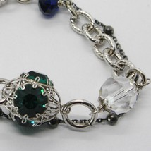 925 STERLING SILVER DOUBLE BRACELET WITH GREEN WORKED LANTERN, BURNISHED CHAIN image 2
