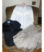 Plus Factor Silk Blouses Black White & Tan Young Fashions for the Full F... - $29.99