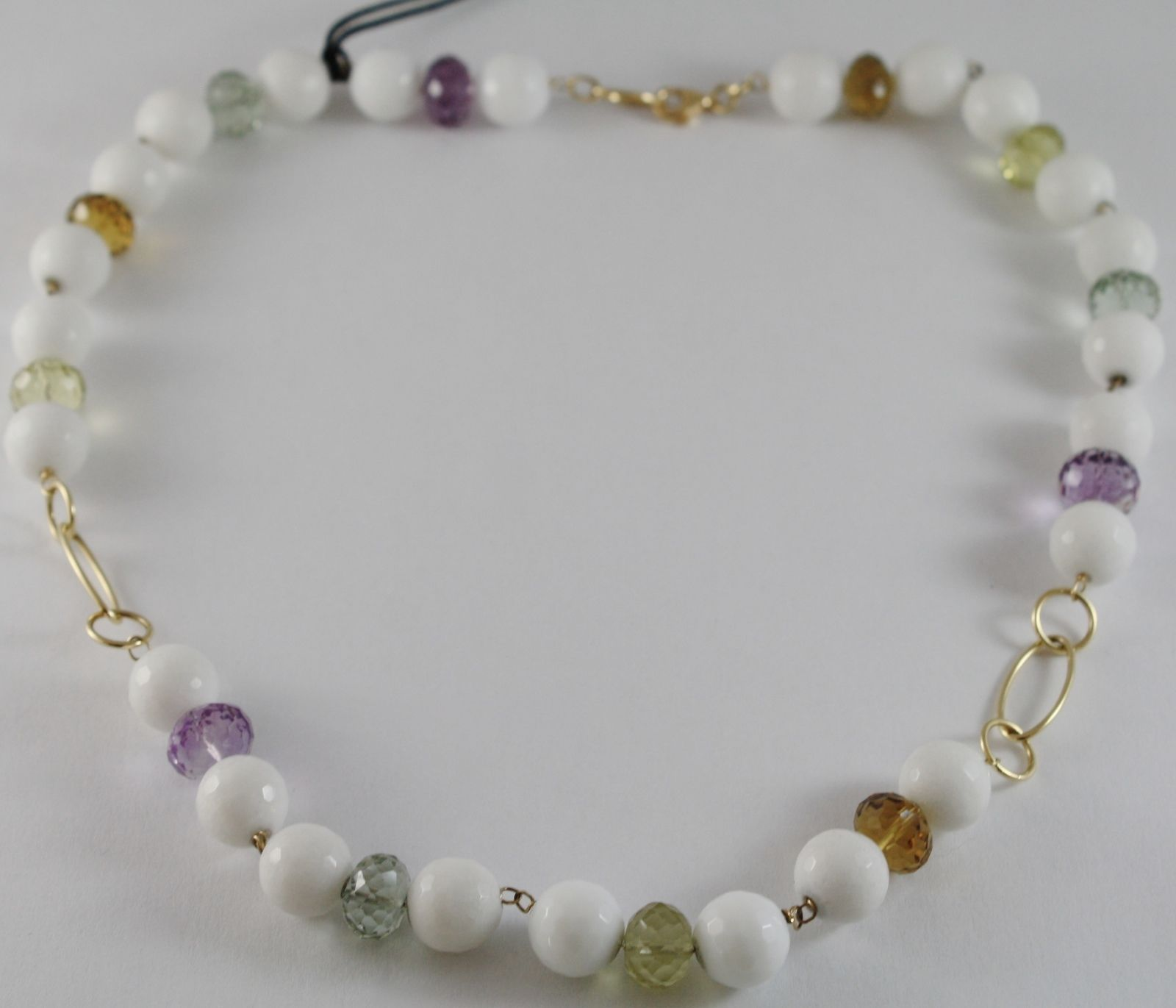 18K YELLOW GOLD NECKLACE WHITE AGATE AMETHYST PRASIOLITE LEMON QUARTZ CITRINE
