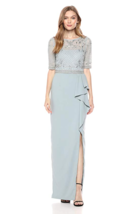 Adrianna Papell Women's Long Dress w/ Beaded Top & Ruffle On Skirt Size ... - $232.24
