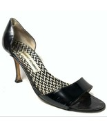 VTG Manolo blahnik open toe heels black patent womens sz 37.5 - $173.25