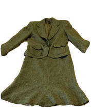 Anne Klein Tweed Green Suit Set Jacket Skirt career office 6P - $66.48