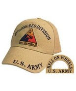 2nd Armored Division, Khaki Army Ballcap with Logo - $18.99