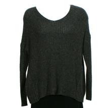 EILEEN FISHER Charcoal Gray Merino Wool Camel Waffle Box V-neck Sweater S - $159.99
