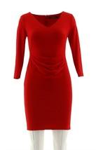 Lauren Ralph Lauren Jersey Long Sleeve V-neck Dress Orient Red 2P NEW - $69.28
