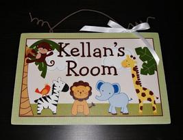 Personalized Jungle Friends Buddies Giraffe Elephant Monkey Canvas on Wo... - $19.99