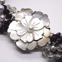 Necklace Braided, Agate Black Banded, Nacre, Flowers, Calla, Daisies image 5